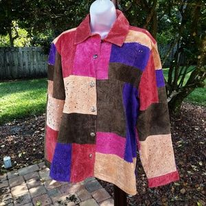 Patchwork Suede Leather Jacket by Chico's XL